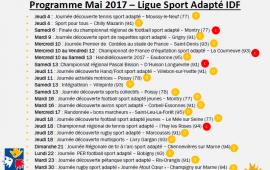 Programme mois de mai Sport Adapté IDF